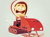 Rasante Fahrt mit dem Schneemobil