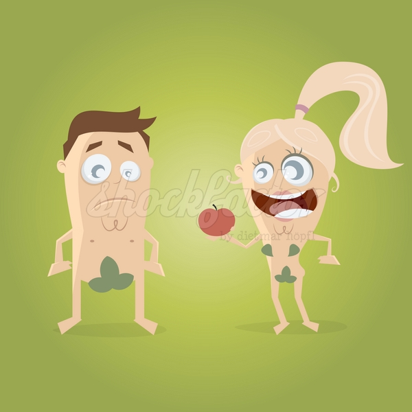 Adam und Eva Cartoon Clipart Vektor Illustration