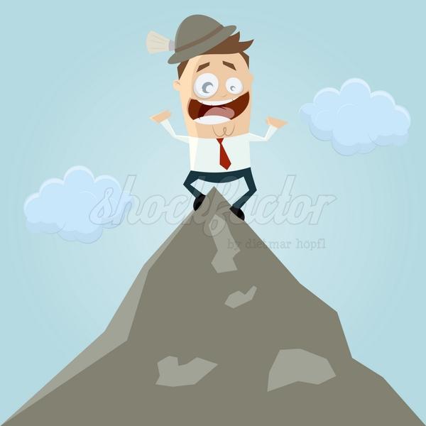 Gipfel Berg Erfolg Cartoon Clipart Vektor