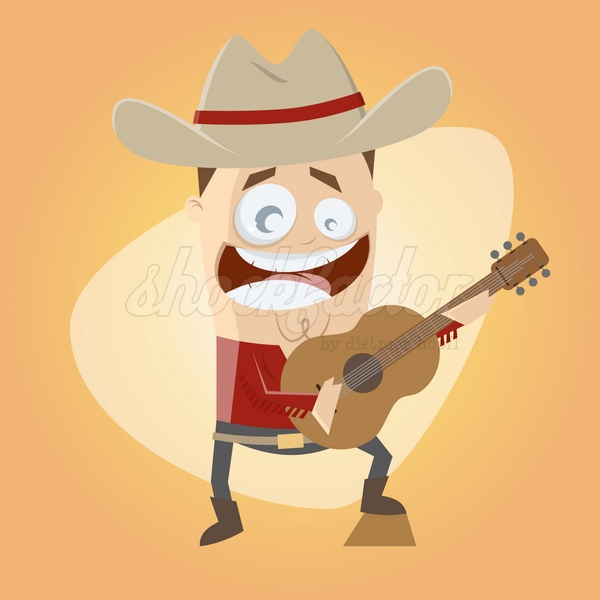 Country Sänger Cartoon Clipart Illustration