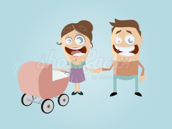 Familie Baby Cartoon Clipart Vektor
