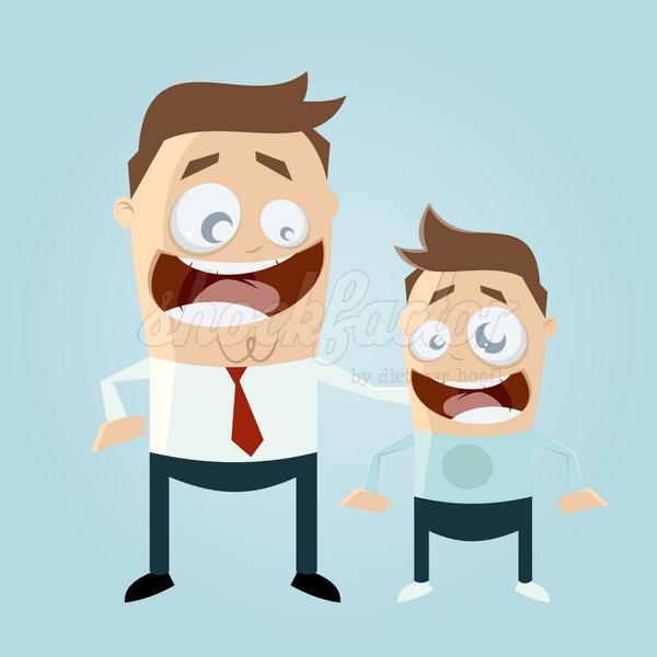 Vater und Sohn Cartoon Clipart Vektor Illustration