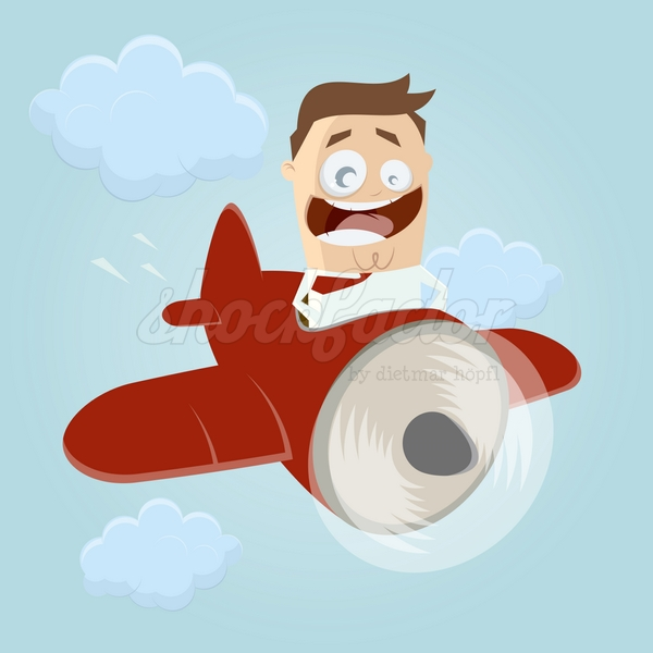 Flugzeug Mann Cartoon Clipart Illustration
