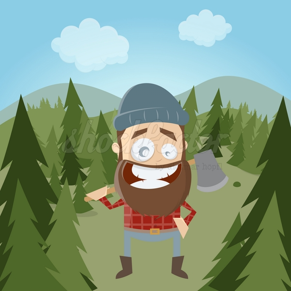 Holzfäller Cartoon Clipart Illustration