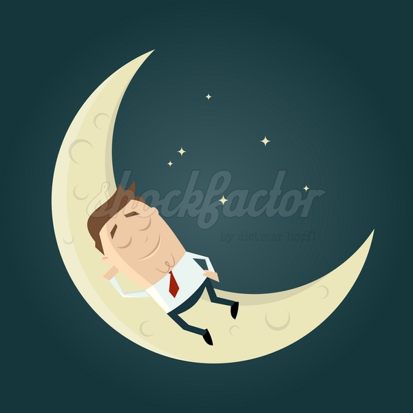 Mond Schlafen Träumen Cartoon Clipart Illustration