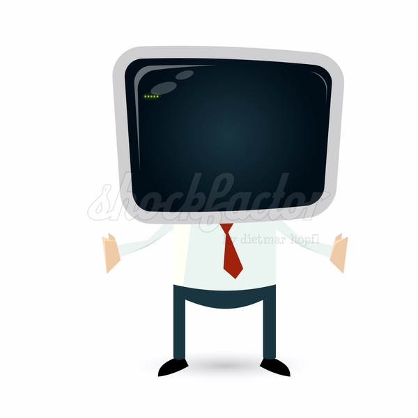 Monitor Mann Cartoon Clipart