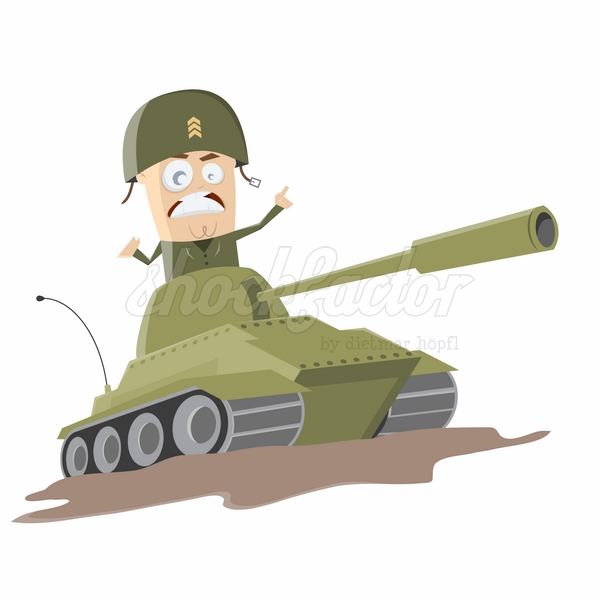 Panzer Angriff Krieg Cartoon Clipart Illustration