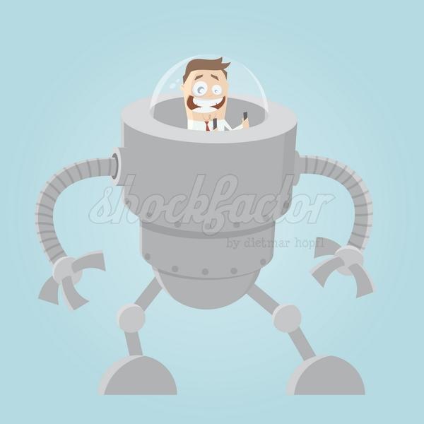 Roboter Mann Clipart Comic