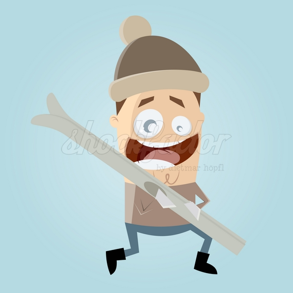 Schi Fahren Cartoon Clipart