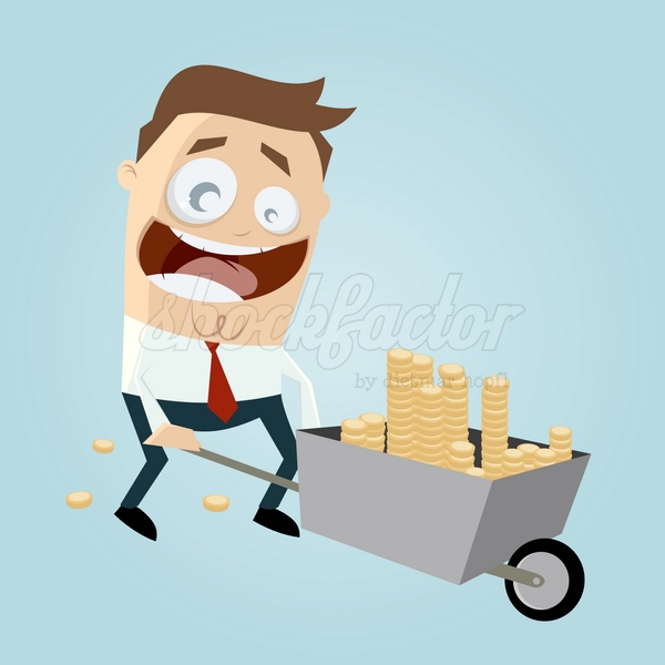 Schubkarre Geld Cartoon Clipart Illustration