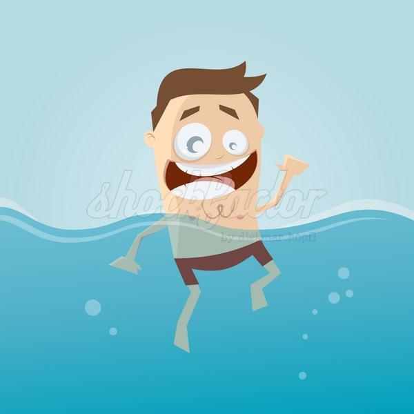 Wasser Schwimmen Cartoon Clipart Vektor
