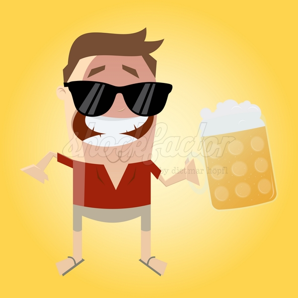Sommer Bier Cartoon Clipart Illustration