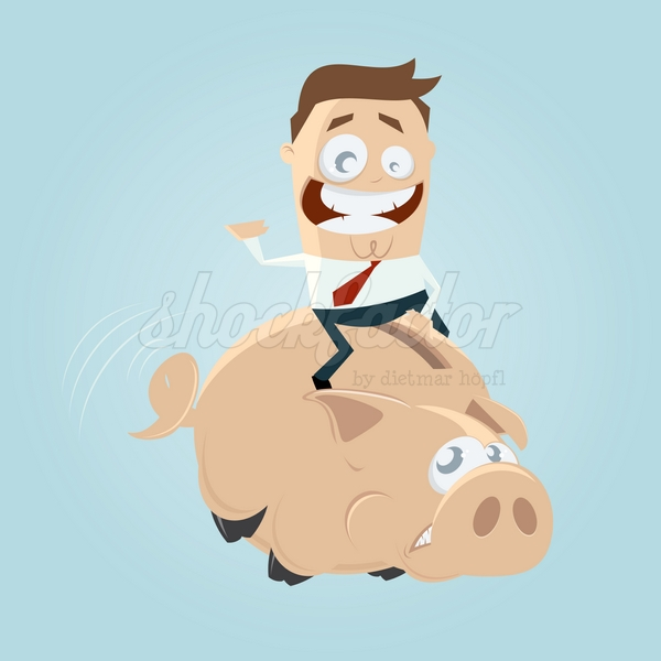 Sparschwein Reiten Cartoon Clipart