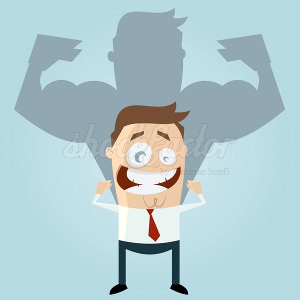 Muskeln Stark Erfolgreich Cartoon Clipart Illustration