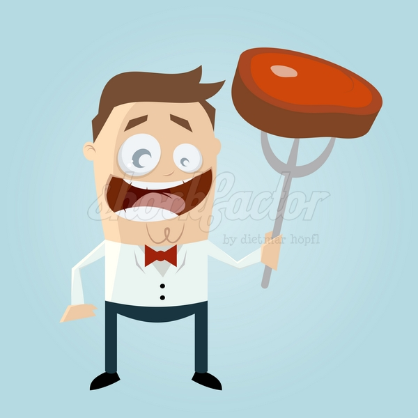 Steak Essen Cartoon Clipart Vektor