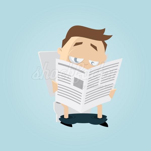 Toilette Zeitung Lesen Cartoon Clipart