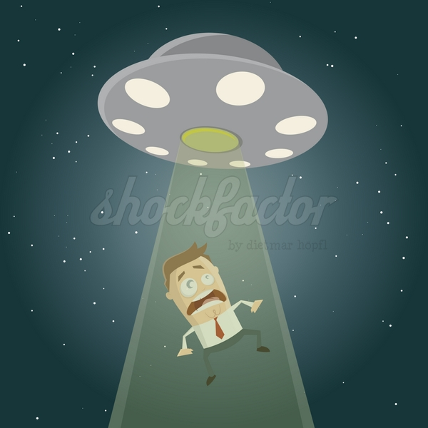 Ufo Entführung Cartoon Clipart Illustration