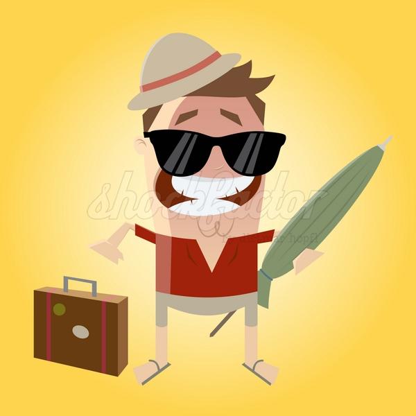 Sonnenschirm Urlaub Cartoon Clipart Illustration