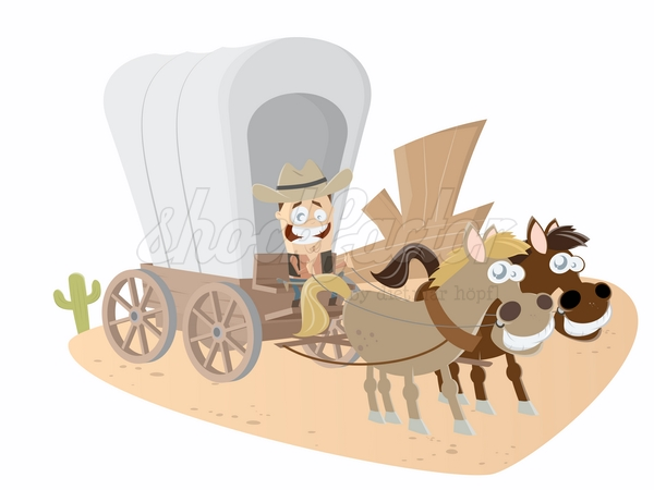 Western Kutsche Cartoon Clipart Vektor Illustration