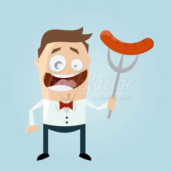 Wurst Grillen Cartoon Clipart Vektor Illustration