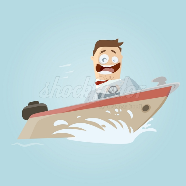 Yacht Cartoon Clipart Vektor Illustration