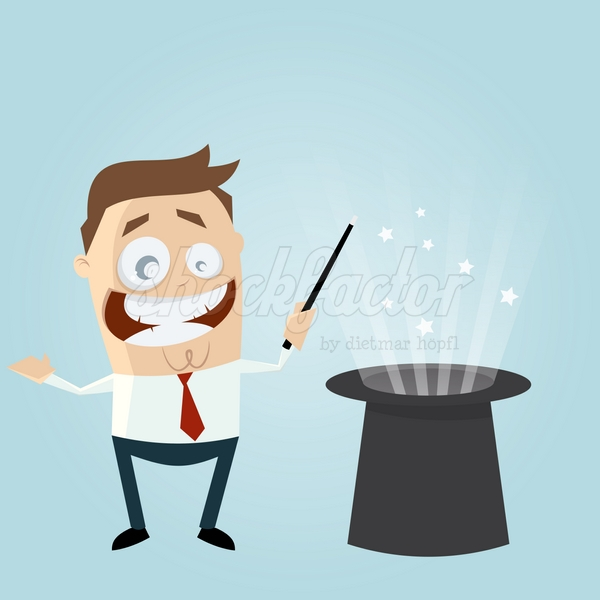Zauberer Cartoon Clipart Vektor Illustration