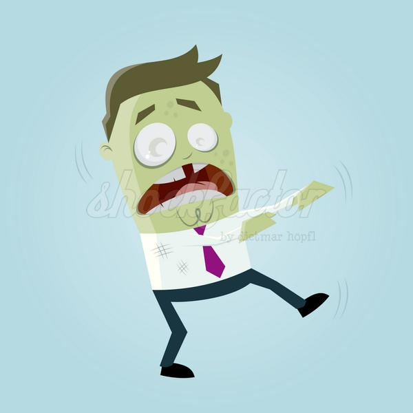 Zombie Cartoon Clipart Vektor Illustration