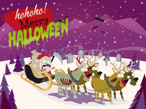 Zombie Weihnachtsmann Cartoon Clipart