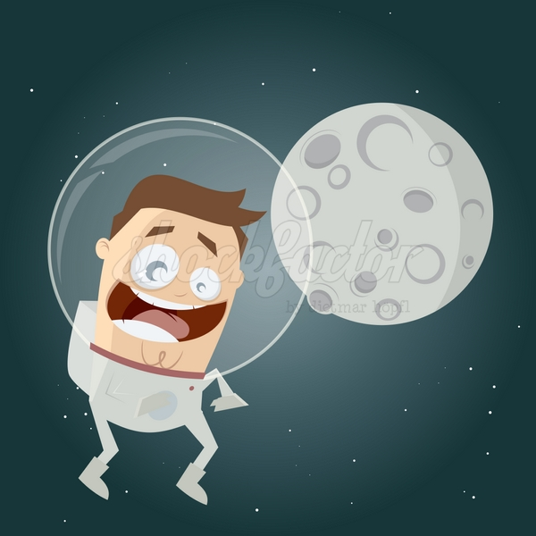 Astronaut Mond Comic Clipart
