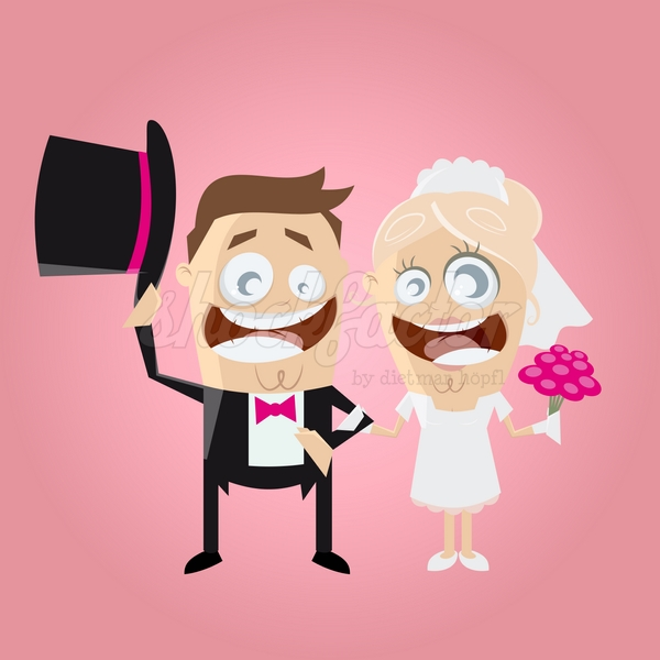 Brautpaar Comic Clipart