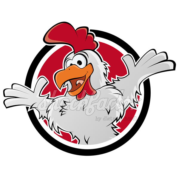 Funny chicken cartoon logo