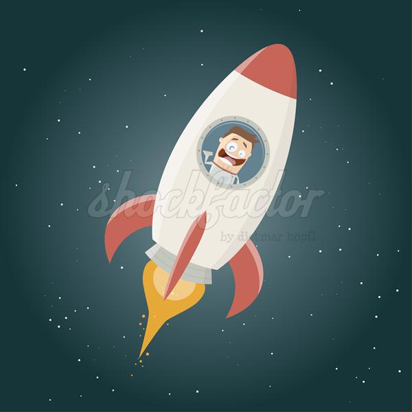 der comic astronaut und seine rakete
