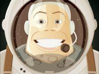 Astronaut zurück auf dem Mond