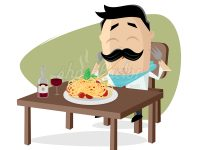 Spaghetti und Wein Clipart