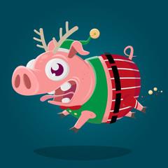 christmas elf pig