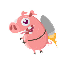 pig flying with jetpack