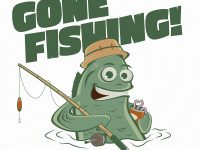 Gone Fishing Cartoon Logo