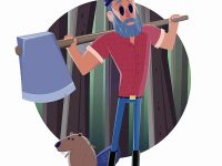 Holzfäller und Biber