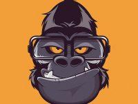 Gorilla Nerd Cartoon Logo