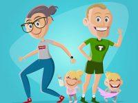 Eine lustige Cartoon Familie